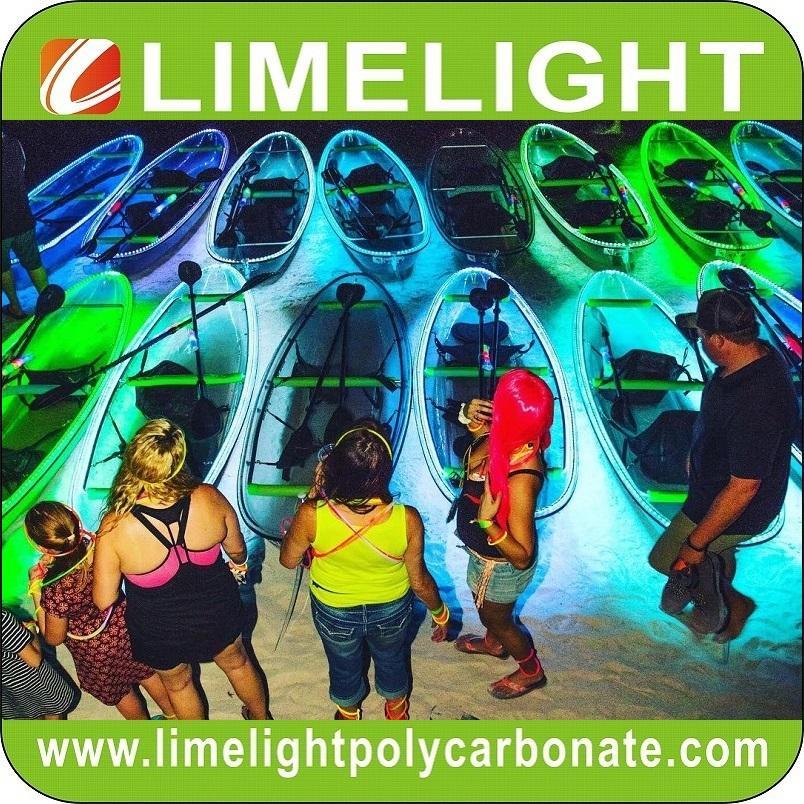 LED light crystal clear kayak transparent PC kayak glass kayak see through kayak