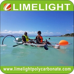 Full transparent kayak clear canoe crystal kayak with outrigger stabilizer