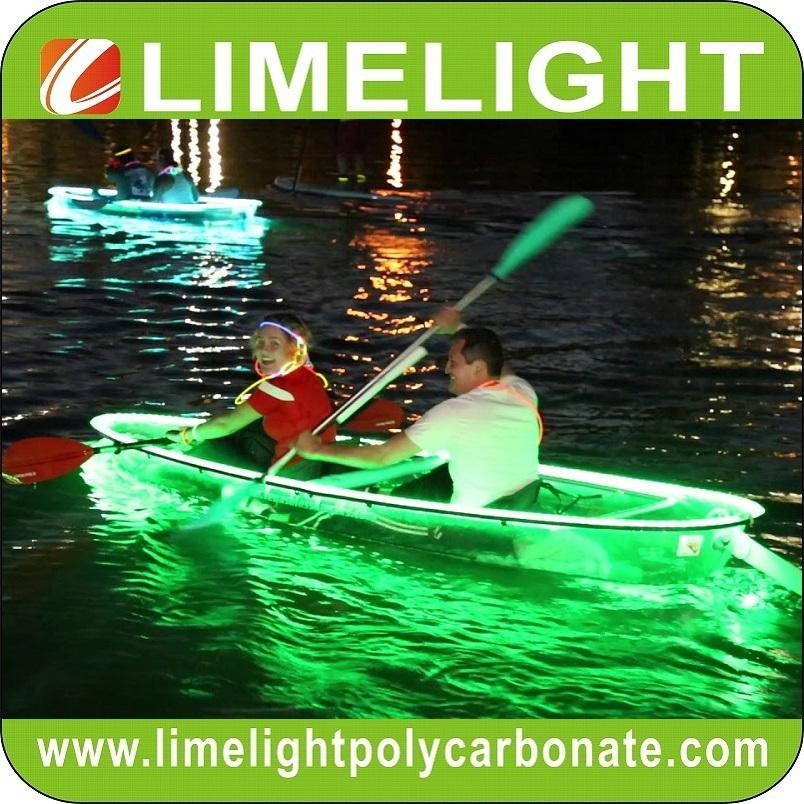 Glass kayak transparent canoe PC clear kayak with LED light for night touring