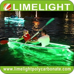 Glass kayak transparent canoe PC clear kayak with LED light for night touring (Hot Product - 1*)