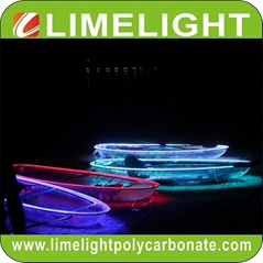 clear kayak polycarbonate canoe transparent kayak crystal kayak with LED light