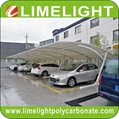 Cantilever carport with powder coated aluminium alloy frame and polycarbonate