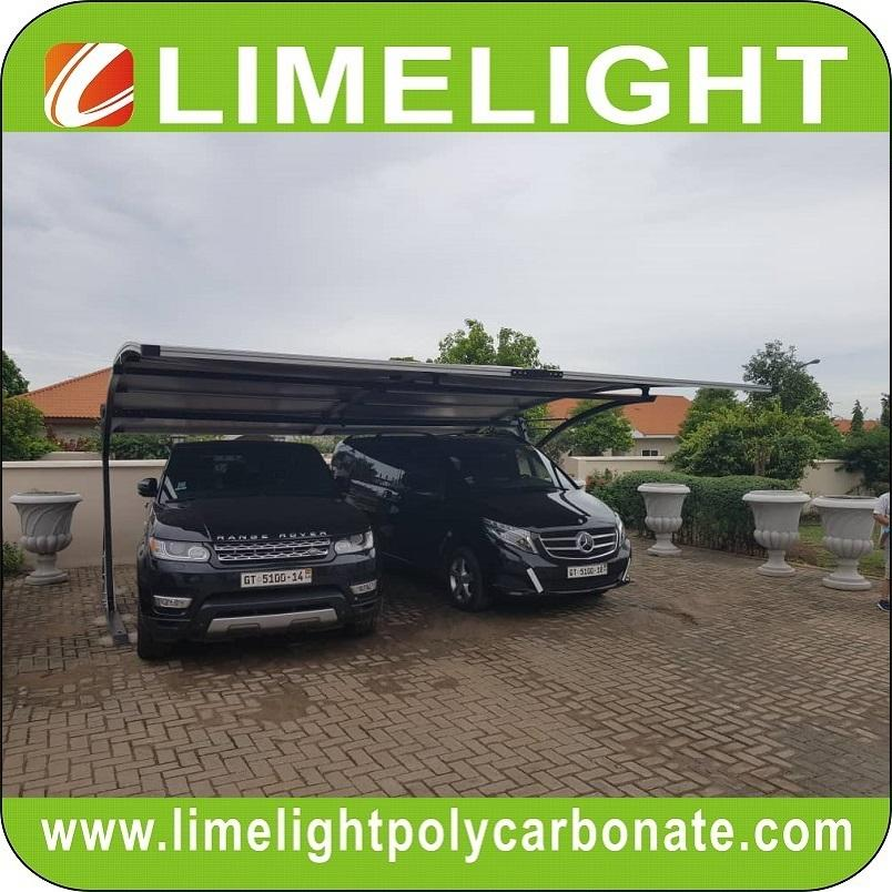 double size cantilever carport with metal frame and polycarbonate roof sheet 4