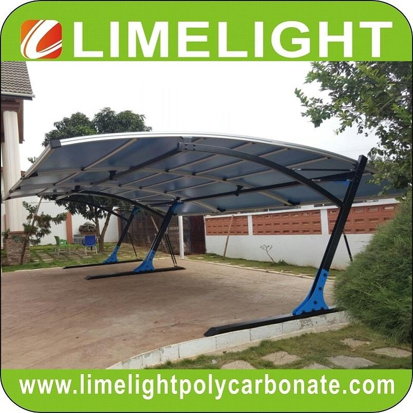 double size cantilever carport with metal frame and polycarbonate roof sheet 5