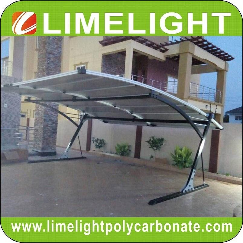 double size cantilever carport with metal frame and polycarbonate roof sheet 6