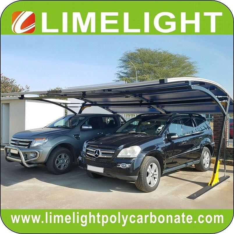 double size cantilever carport with metal frame and polycarbonate roof sheet 7