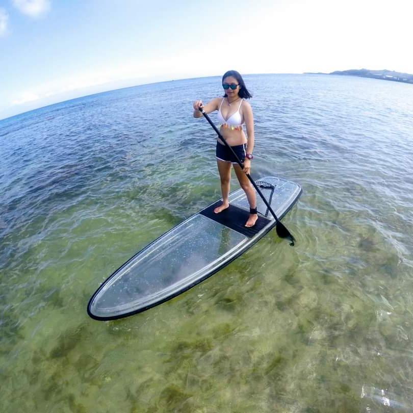 transparent paddle board, transparent SUP, transparent SUP paddle board, transparent board, transparent stand-up board, transparent stand up paddle board
