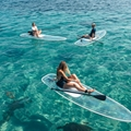 Clear paddle board, transparent paddle board, clear SUP paddle board, transparent SUP paddle board, see through paddle board, crystal board