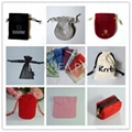 Various colors shapes of velvet pouches