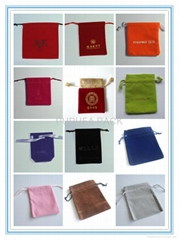 Various sizes and colors of rectanganle velvet pouches